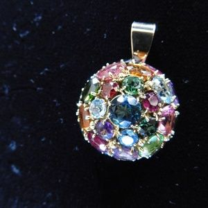 Jewelry - 14 Karat Gold Pendant w/ multi colored stones!